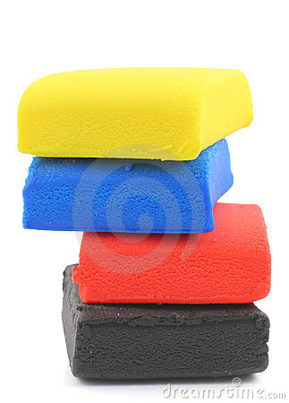 Free Pile Of Colorful Plasticine Blocks On White Royalty Free Stock Images - 644049