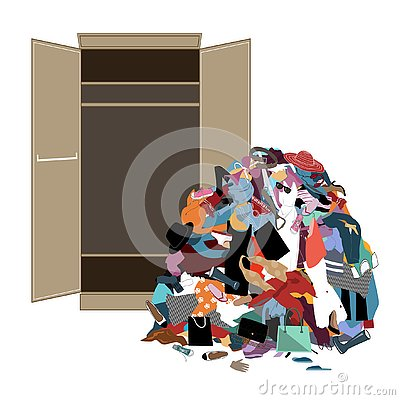 Free Pile Of Messy Girl Or Lady Clothes Gotten Out Of Closet. Untidy Cluttered Woman Wardrobe. Royalty Free Stock Photo - 135920995