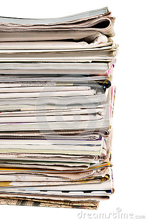 Free Pile Of Old Newspapers And Magazines, Border Vertical, Isolated On White Background Stock Photo - 51017800