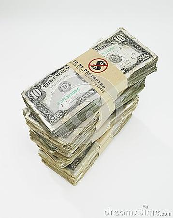 Free Pile Of Worn US Dollars Bills Stock Image - 16807281