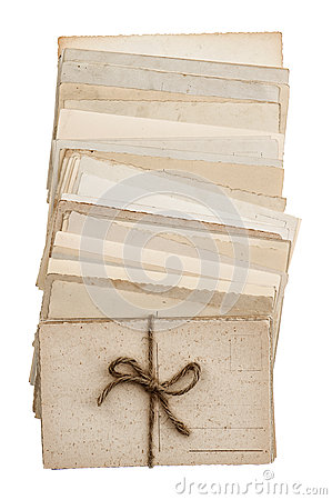 Pile of old blank paper postcards