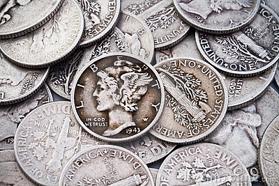 Pile of old Silver Dimes & Quarters