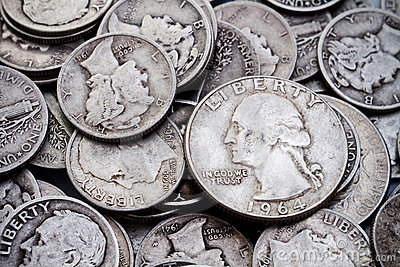 Pile of old Silver Dimes & Quarters 2