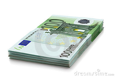 Pile of one hundred euro banknotes.