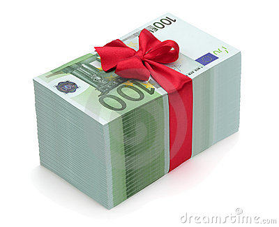 Pile of one hundred euro banknotes with red ribbon