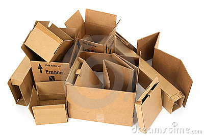 Pile of open cardboard boxes