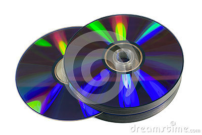 Pile of optical discs (CD, DVD or Blu-ray)