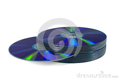 Pile of optical discs isolated on white. Path.