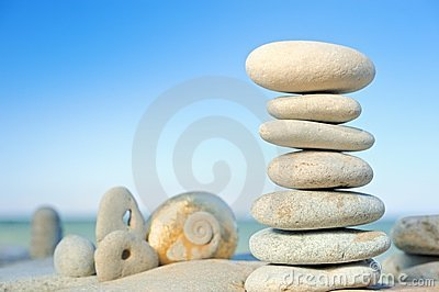 Pile of pebbles on beach
