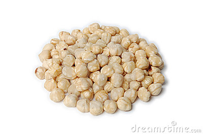 Pile of peeled (blanched) hazelnuts