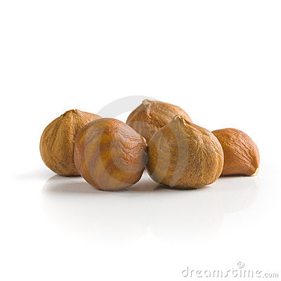 Pile of peeled hazelnuts