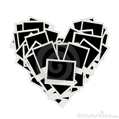 Pile of photos, heart shape, insert pictures