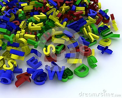Pile of plastic letters