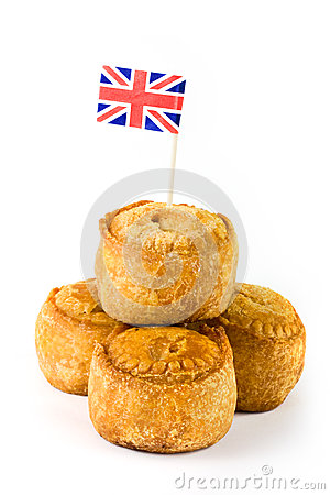 Pile of pork pies with union jack flag
