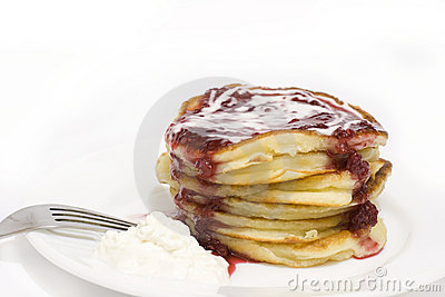 Pile of puffy pancakes