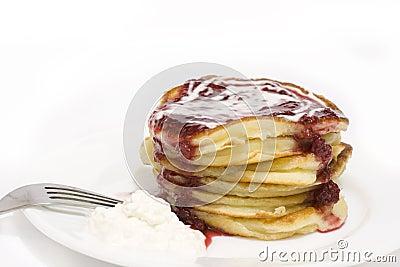 Pile of puffy pancakes