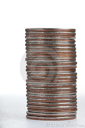 Pile of qurters coins on white, sideways