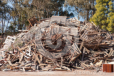 Pile of raw timber for recycling