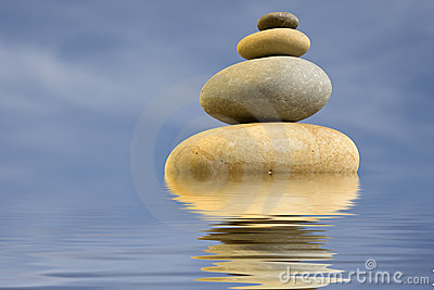 Pile of round stones - zen and health concept