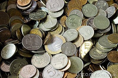 A pile of russian coins