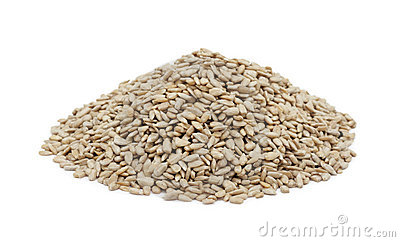 Pile of shelled sunflower seeds, isolated