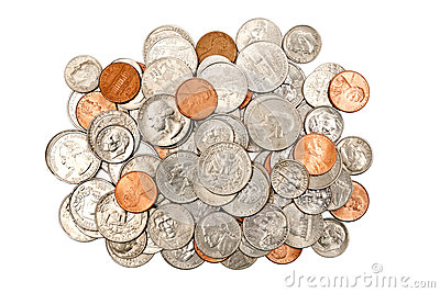 Pile Of Shiny Coins XXXL Isolated