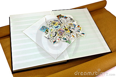 Pile of stamps on album