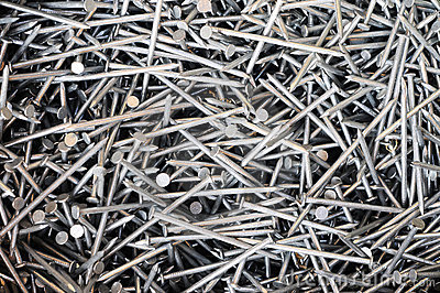 Pile of steel nails