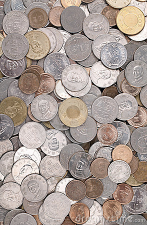 Pile of Taiwanese Coins