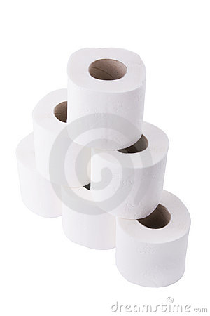 Pile of toilet paper rolls
