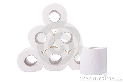 Pile of toilet paper rolls
