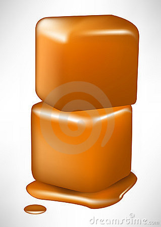 Pile of two caramel melting cubes