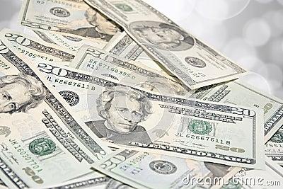 Pile of US Twenty Dollar Bills