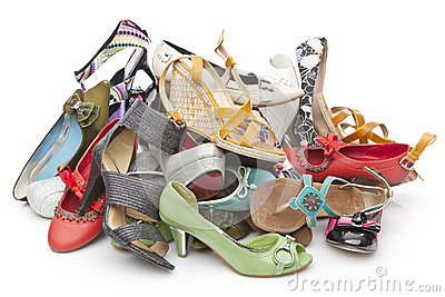 Pile of various female shoes