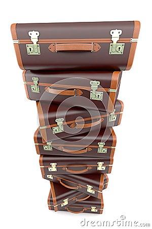 Pile of vintage brown suitcases