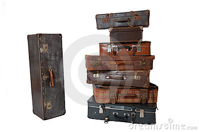 Pile of vintage luggage