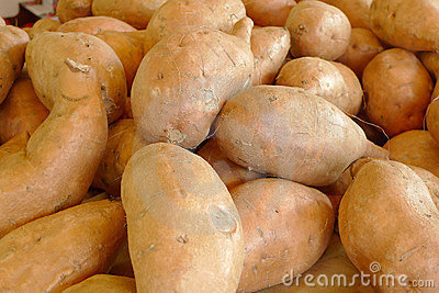 Pile of washed whole potatoes