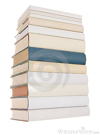 Pile of white books with one blue book
