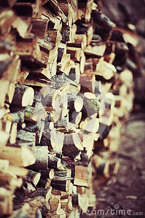 Pile of wood stored