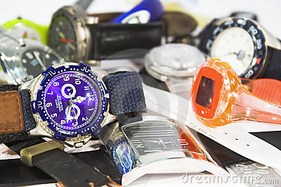 Pile of wrist watches