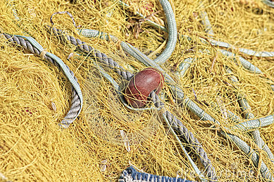 Pile yellow fishing net