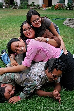 Pile of Young Hispanic friends