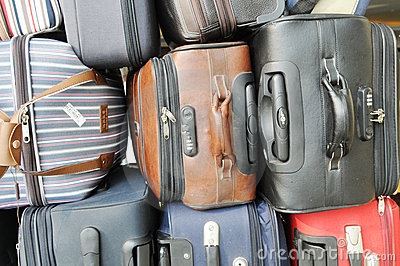 The piled luggages