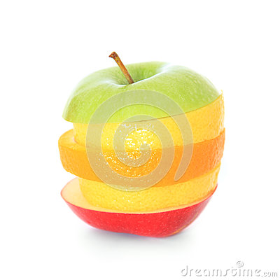 Piled slices of various fruits