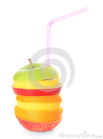 Piled slices of various fruits with drinking straw