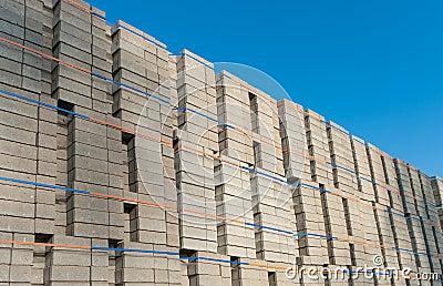 Piled up bricks