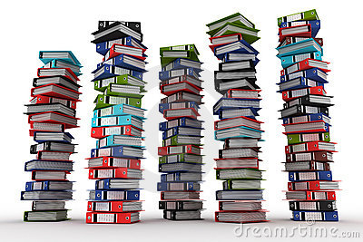 A piles of archive binders isolated on white backg