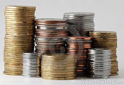The piles of coins
