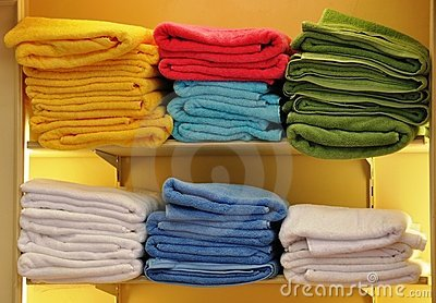 Piles of colorful towels