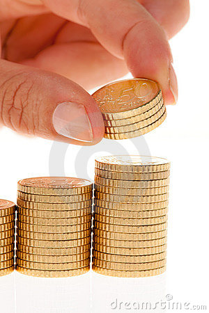 Piles d euro pièces de monnaie